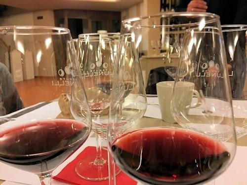 Weinprobe auf dem Landgut Terricciola.