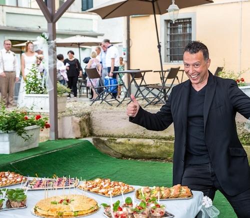 Sektempfang im Caffé del Borgo in Terricciola