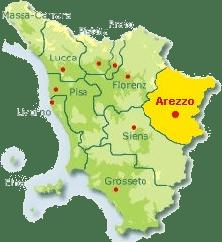 Karte von der Toskana mit Markierung der Provinz Arezzo.