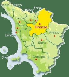Karte von der Toskana mit Markierung der Provinz Florenz.