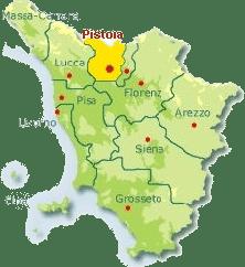 Karte von der Toskana mit Markierung der Provinz Pistoia.