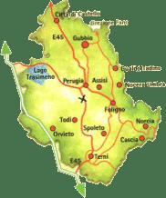 Karte von Umbrien.