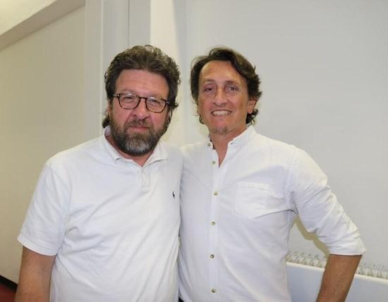 Schuldirektor Giovanni Scalfi und Dipl.-Ing. Thomas Deavi vom Institut Ivo de Carneri